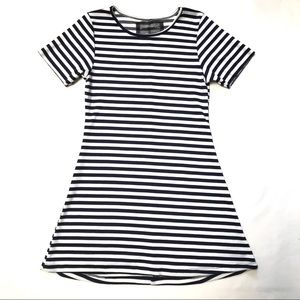 Reformation Mini Dress S navy white stripe